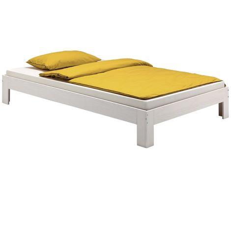 Lit futon THOMAS couchage double 140 x 200 cm 2 places / 2 personnes, en pin massif lasuré blanc
