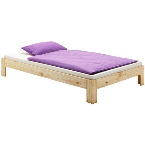 Lit futon THOMAS couchage double 140 x 200 cm 2 places / 2 personnes, en pin massif vernis naturel