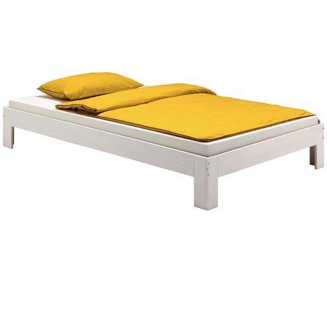Lit futon THOMAS couchage simple 90 x 190 cm 1 place / 1 personne, en pin massif lasuré blanc