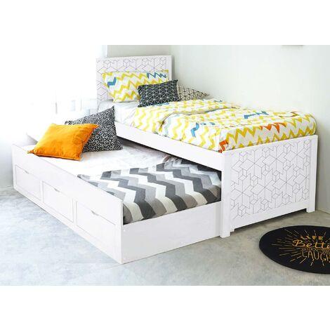 Lit gigogne avec tiroirs en bois blanc ENORA 90 x 190 cm