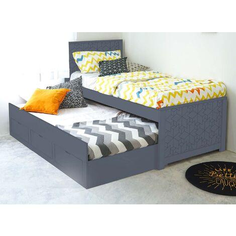 Lit gigogne avec tiroirs en bois gris ENORA 90 x 190 cm