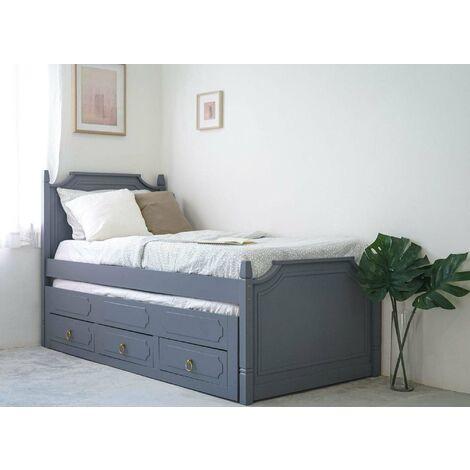 Lit gigogne avec tiroirs en bois gris PAULINE 90 x 190 cm
