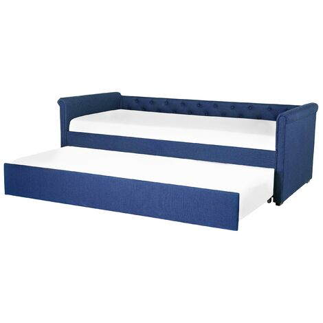 Lit gigogne en tissu bleu marine 90 x 200 cm LIBOURNE