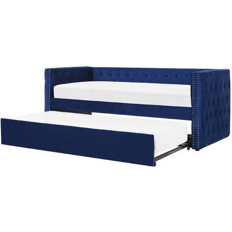 Lit gigogne en velours bleu 90 x 200 cm GASSIN