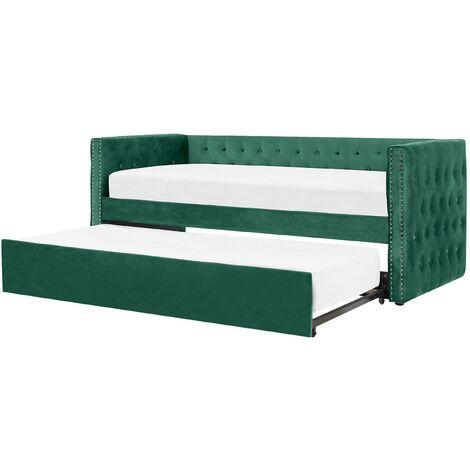 Lit gigogne en velours vert 90 x 200 cm GASSIN
