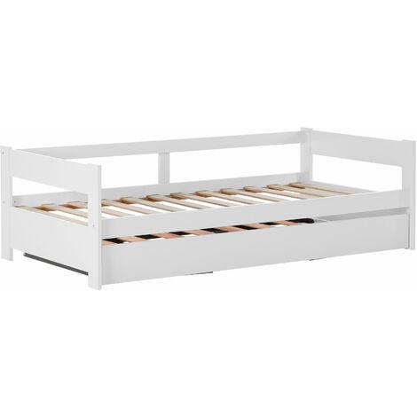 Lit gigogne enfant 90 x 190 cm - structure lit avec lit tiroir - sommiers à lattes inclus - acier pin massif MDF classe E1 blanc