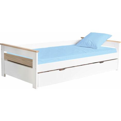 Lit gigogne enfant 90 x 190 cm - structure lit avec lit tiroir - sommiers à lattes inclus - acier pin massif MDF classe E1 blanc bois clair