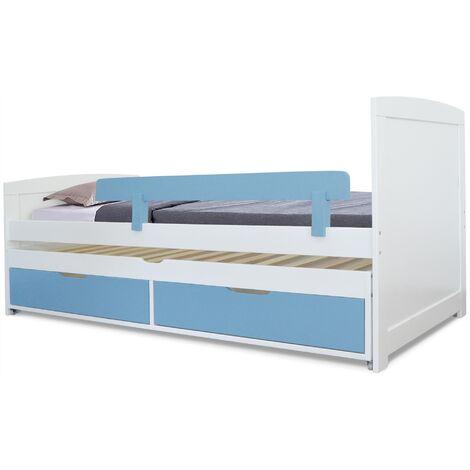 Lit gigogne enfant avec sommiers et tiroirs Patapon Blanc et Bleu - Bleu