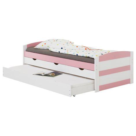 Lit gigogne JESSY lit enfant fonctionnel avec tiroir-lit et rangements 3 tiroirs, couchage 90 x 200 cm, pin massif lasuré blanc/rose