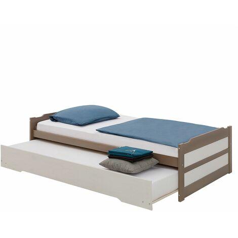Lit gigogne LORENA 1 personne tiroir lit fonctionnel 90 x 190 cm pin massif lasuré taupe et blanc