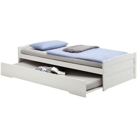 Lit gigogne LORENA 1 personne tiroir lit fonctionnel 90 x 200 cm pin massif lasuré blanc