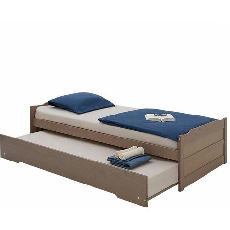 Lit gigogne LORENA 1 place tiroir lit simple fonctionnel pour enfant 90 x 190 cm en pin massif lasuré taupe