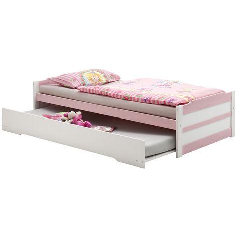 Lit gigogne LORENA enfant 1 place tiroir lit fonctionnel 90 x 200 cm pin massif lasuré blanc et rose