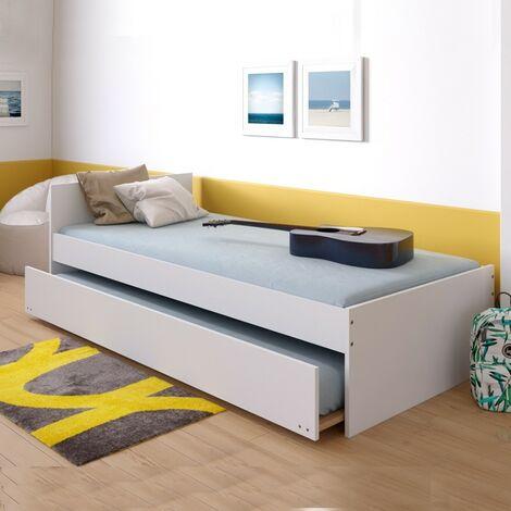 Lit gigogne PODIUM 90x190 avec tête de lit + 2 sommiers + 1 tiroir-lit / Blanc/