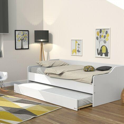 Lit gigogne SWEET 90x190 + 2 sommiers + 1 tiroir-lit / Blanc/