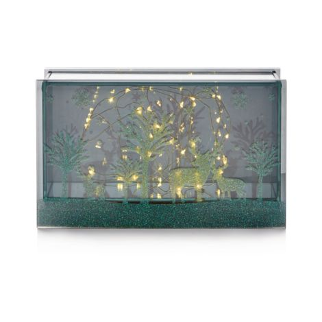 Lit Glass Reindeer Scene with 25 Copper Wire LED's - 24 x 15cm