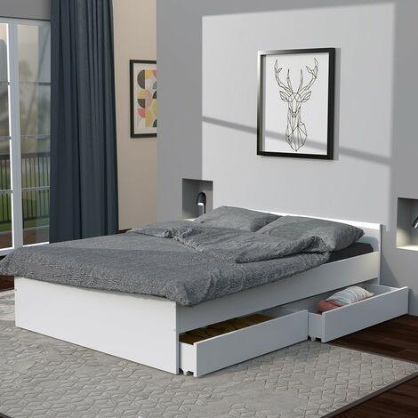 Lit KAPPA 140x190 cm + 2 tiroirs / Blanc