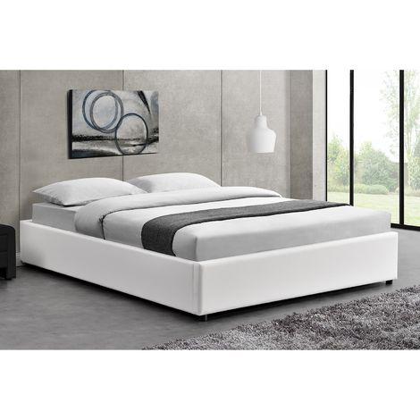 Lit Kennington - Structure de lit Blanc avec coffre de rangement intégré