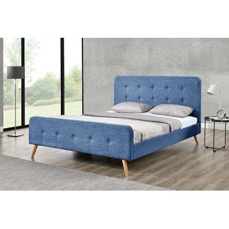 Lit Lanka - Cadre de lit scandinave bleu avec pieds en bois