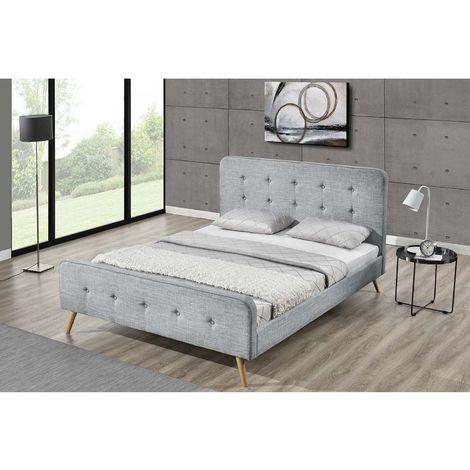 Lit Lanka - Cadre de lit scandinave gris clair avec pieds en bois