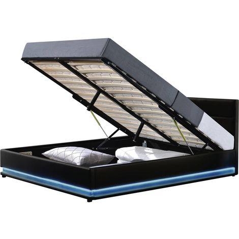 """Lit LED avec coffre """"Anastasia"""" - 160 x 200 cm - Noir"""
