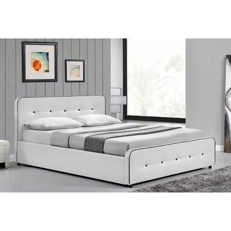 Lit London - Structure de lit capitonnée Blanc avec coffre de rangement intégré - 160x200 cm ...