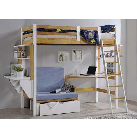 Lit mezzanine 90x190 cm avec bureau chauffeuse et rangements en bois et blanc ARMAND