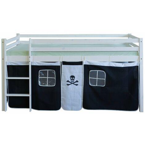 Lit mezzanine 90x200cm avec échelle en bois blanc et toile noir pirate - noir