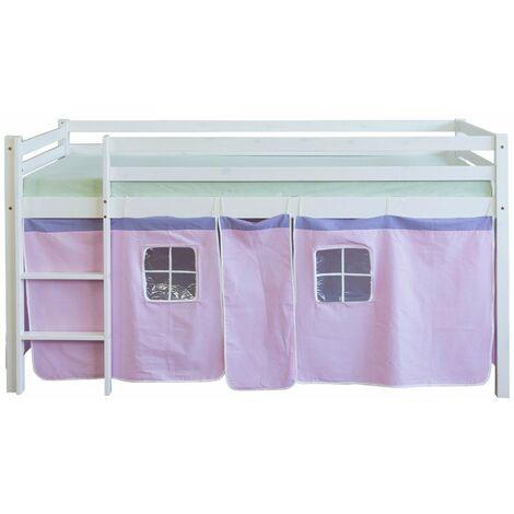Lit mezzanine 90x200cm avec échelle en bois blanc et toile rose - Rose