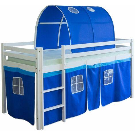 Lit mezzanine 90x200cm avec échelle en bois blanc toile et tunnel bleu - bleu