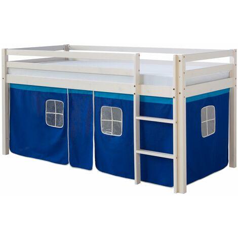 Lit mezzanine 90x200cm avec échelle en bois laqué blanc et toile bleu incluse - bleu