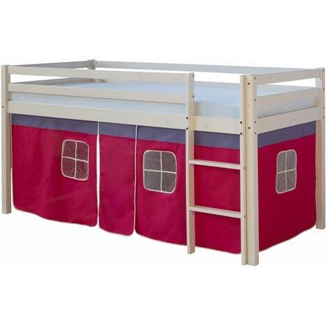 Lit mezzanine 90x200cm avec échelle en bois laqué blanc et toile rose incluse - Rose