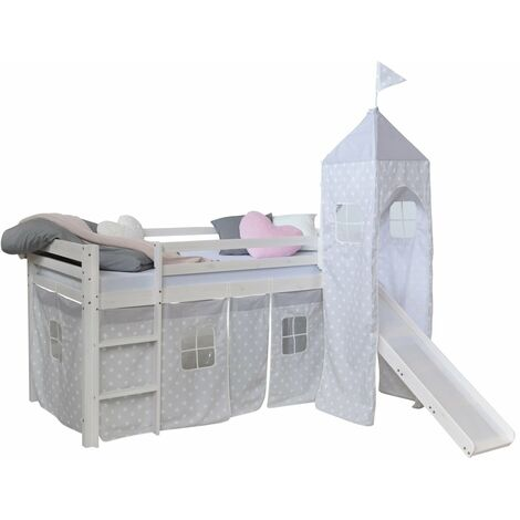 Lit mezzanine 90x200cm avec échelle toboggan en bois blanc avec tissu gris étoile et tour - gris