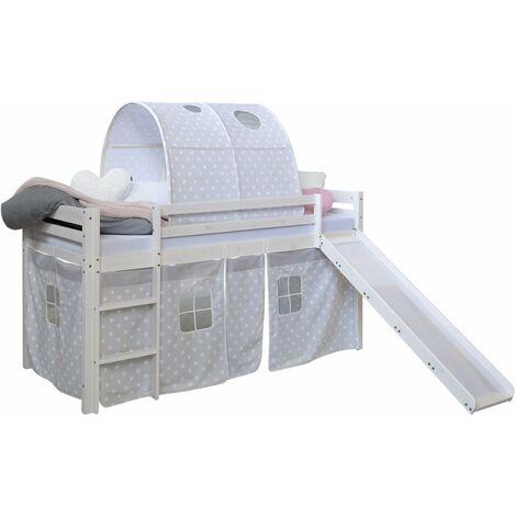 Lit mezzanine 90x200cm avec échelle toboggan en bois blanc avec tissu gris étoile et tunnel - gris