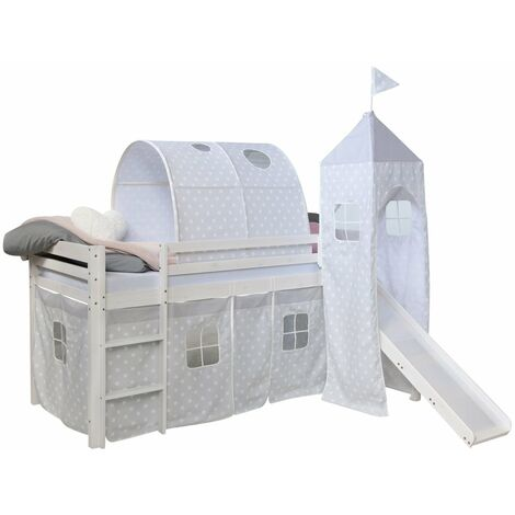 Lit mezzanine 90x200cm avec échelle toboggan en bois blanc avec tissu gris étoile tunnel et tour - gris