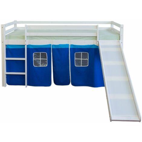 Lit mezzanine 90x200cm avec échelle toboggan en bois blanc et toile bleu - bleu