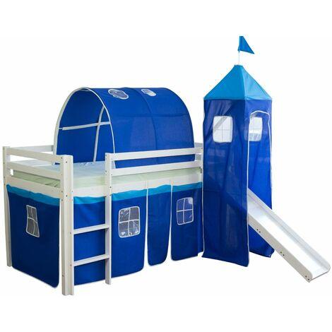 Lit mezzanine 90x200cm avec échelle toboggan en bois blanc et toile bleu incluse - bleu