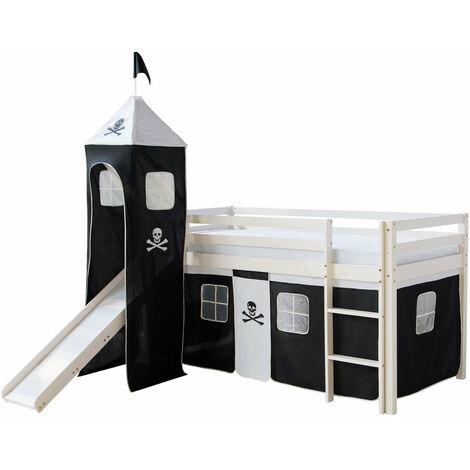 Lit mezzanine 90x200cm avec échelle toboggan en bois blanc et toile noir pirate incluse - noir