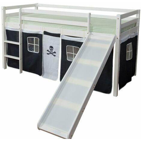 Lit mezzanine 90x200cm avec échelle toboggan en bois blanc et toile noir pirate - noir