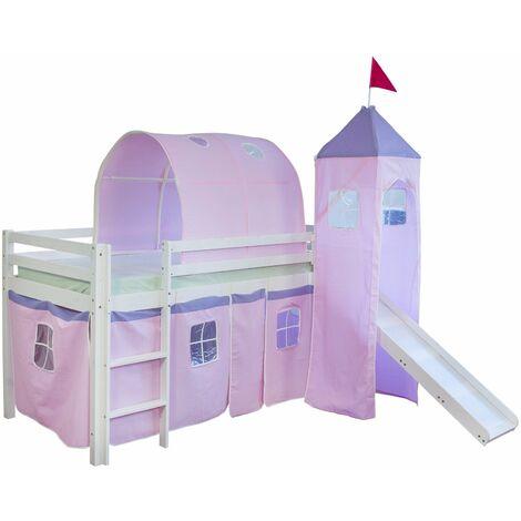 Lit mezzanine 90x200cm avec échelle toboggan en bois blanc et toile rose incluse - Rose
