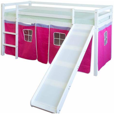 Lit mezzanine 90x200cm avec échelle toboggan en bois blanc et toile rose rouge - Rose
