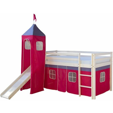 Lit mezzanine 90x200cm avec échelle toboggan en bois blanc et toile rouge incluse - rougeed