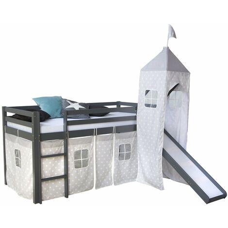 Lit mezzanine 90x200cm avec échelle toboggan en bois gris avec tissu étoile et tour - gris
