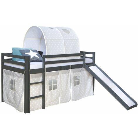 Lit mezzanine 90x200cm avec échelle toboggan en bois gris avec tissu étoile et tunnel - gris