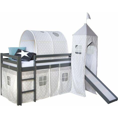 Lit mezzanine 90x200cm avec échelle toboggan en bois gris avec tissu étoile tunnel et tour - gris
