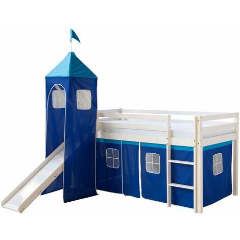 Lit mezzanine 90x200cm avec échelle toboggan en bois laqué blanc et toile bleu incluse - bleu