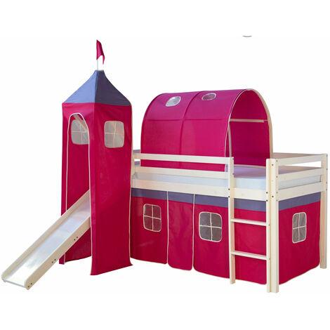 Lit mezzanine 90x200cm avec échelle toboggan en bois laqué blanc et toile rose foncé incluse - Rose