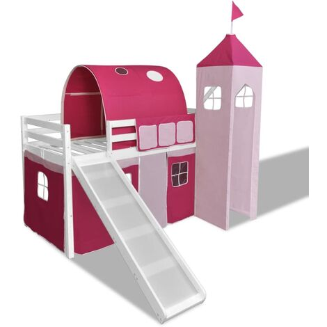 Lit mezzanine avec échelle toboggan thème rose-château princesse