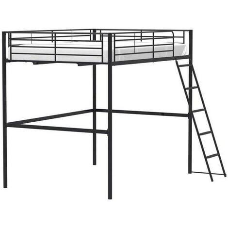 """main image of """"Lit mezzanine en métal - Noir - Sommier inclus - 140 x 200 cm - ELIOT"""""""