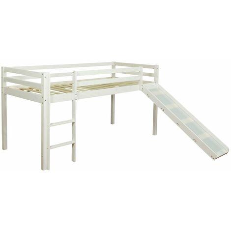 Lit mezzanine mi-hauteur 90x200cm avec échelle toboggan en bois laqué blanc - blante